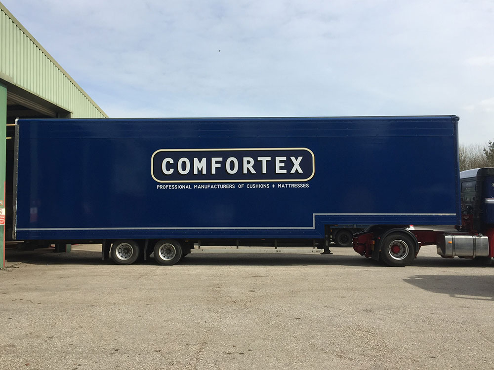 Comfortex blue lorry vehicle graphics by Graphical Sign Ramsgate